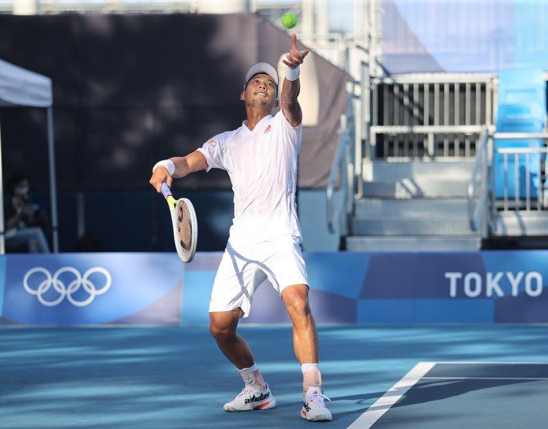 ▲我國男子網球「一哥」盧彥勳在奧運首場出賽。(圖/體育署提供)