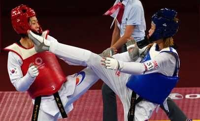 ▲東京奧運跆拳道國手羅嘉翎(藍)。(圖/美聯社/達志影像)