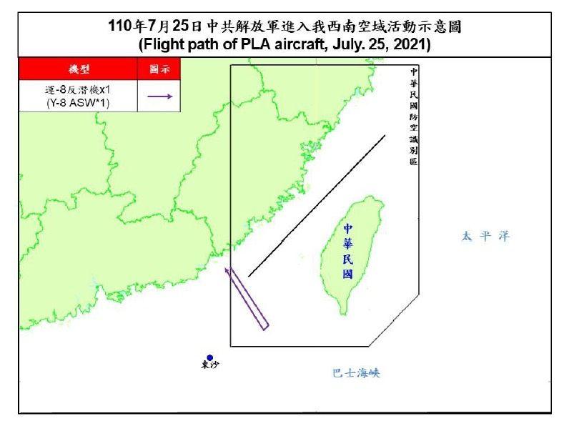 ▲國防部25日晚間公布共擊擾台路線示意圖。(圖/國防部提供)