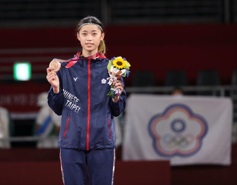 ▲國手羅嘉翎拿下東京奧運跆拳道57公斤級銅牌。(圖/體育署提供)