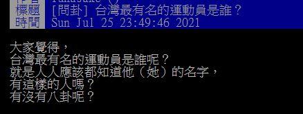 ▲一名網友在PTT提問「台灣最有名的運動員是誰?」結果全場紛紛狂指「這位」,直呼「連阿嬤都知道!」(圖/翻攝自PTT)