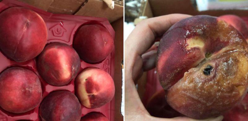▲女網友買到爛掉的水蜜桃。(圖/翻攝自《Costco好市多