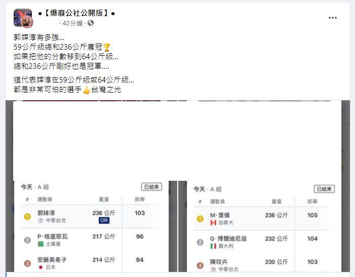 ▲有網友從數據面看出郭婞淳跨越量級的硬實力。(圖/翻攝《爆廢公社》)