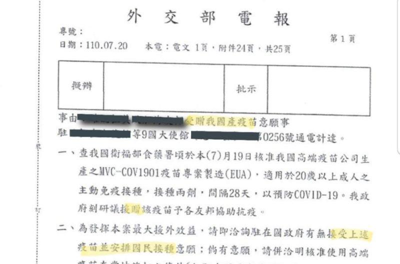 ▲外交部電報。(圖/國民黨提供)