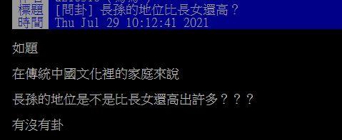▲一名網友在PTT提問「長孫的地位比長女還高?」掀起熱論。(圖/翻攝自PTT)