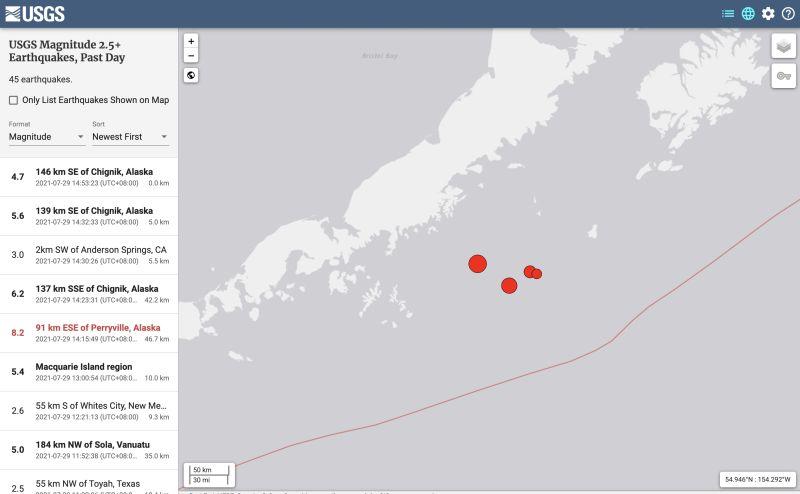 ▲美國阿拉斯加半島發生芮氏規模8.2地震後,隨後又發生兩起規模高達6.2、5.6的餘震。(圖/翻攝自美國地質調查中心)
