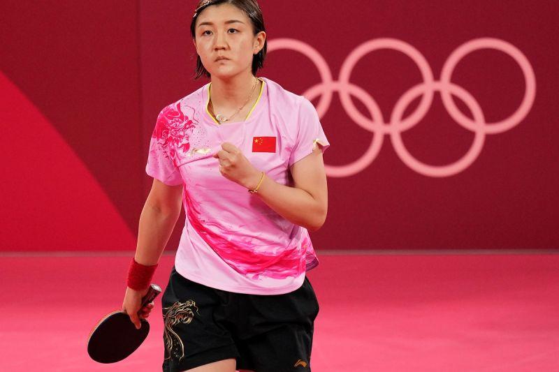 ▲陳夢摘下東京奧運桌球女單金牌。(圖/美聯社/達志影像)