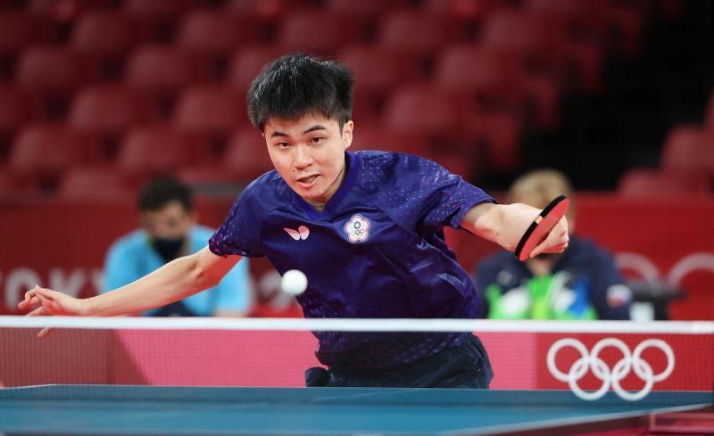 ▲東京奧運桌球男團項目八強戰,林昀儒發揮出色。(圖/體育署提供)
