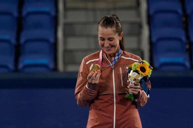 ▲Belinda Bencic奪下奧運網球女單金牌。(圖/美聯社/達志影像)