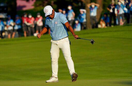 ▲東京奧運台灣好手潘政琮在PGA季後賽首戰上演一桿進洞美技,可惜最後仍未能晉級,結束個人今年PGA賽季。(圖/美聯社/達志影像)