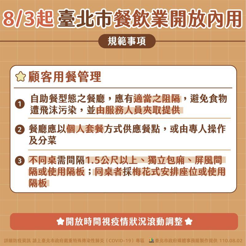▲台北市政府公布餐飲業內用相關防疫準則。(圖/台北市政府提供)