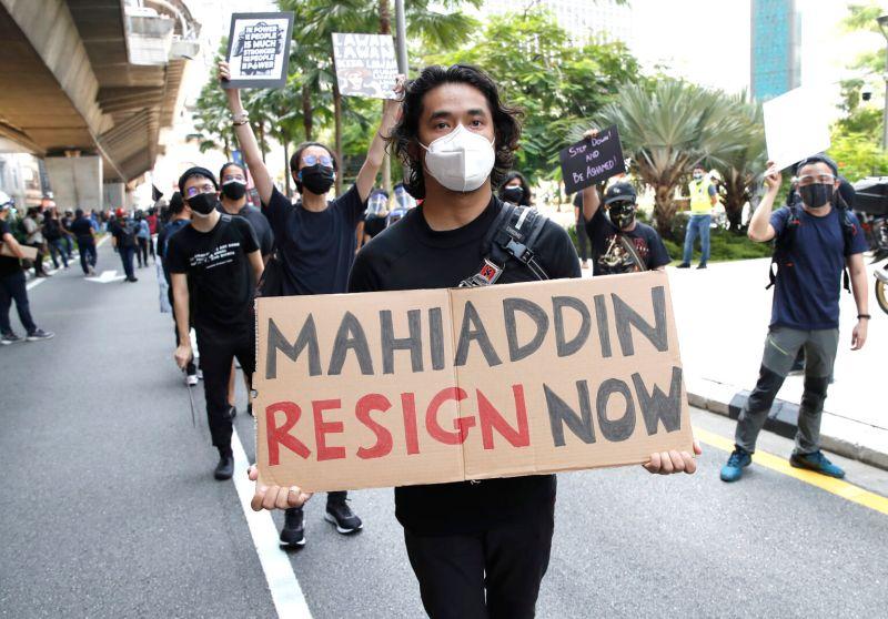 ▲馬來西亞7月31日黑旗示威運動。(圖/美聯社/達志影像)