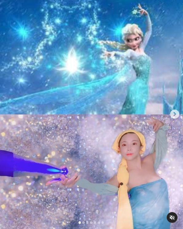 ▲▼巫苡萱頭披著黃色抹布代替Elsa的金髮。(圖/巫苡萱IG)
