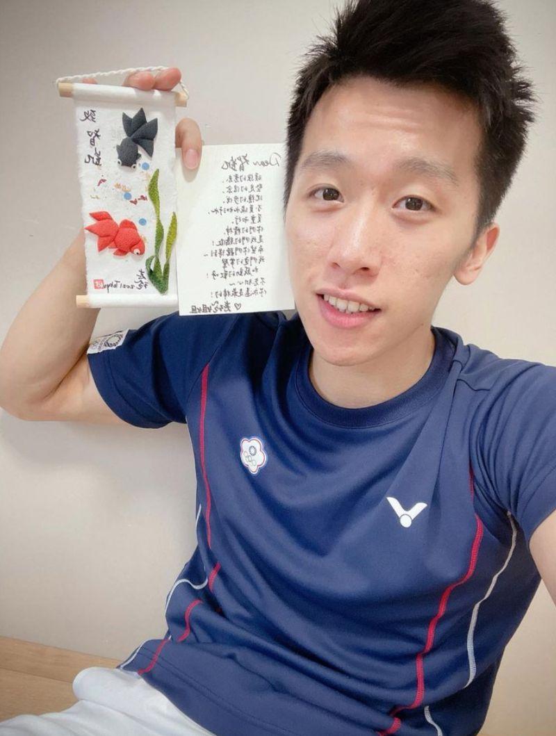▲「鞍馬王子」李智凱也在IG分享,賽前就收到林志玲獨一無二的禮物。(圖/翻攝自李智凱IG)