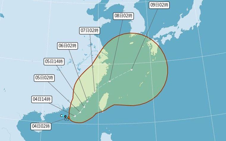 ▲位於廣東海面的熱帶性低氣壓在今(4)日稍早已被日本氣象廳命名為今年的第9號颱風「盧碧」(Lupit)。(圖/翻攝自中央氣象局)