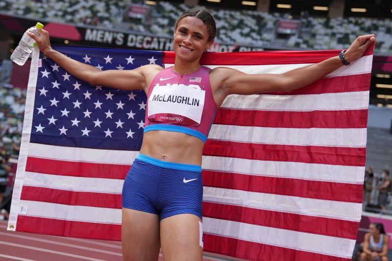 ▲美國選手Sydney McLaughlin破紀錄摘金。(圖/美聯社/達志影像)