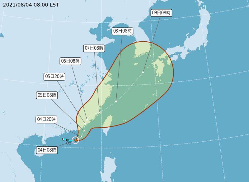 ▲氣象局預估,盧碧颱風明(4)日下午將登陸福建汕頭一帶。(圖/中央氣象局提供)