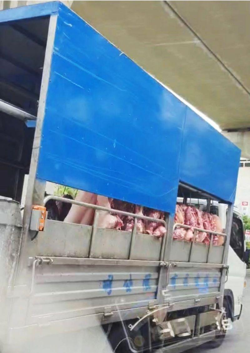 ▲台中市肉品市場運送豬肉的方式(圖/林祈烽提供2021.8.4)