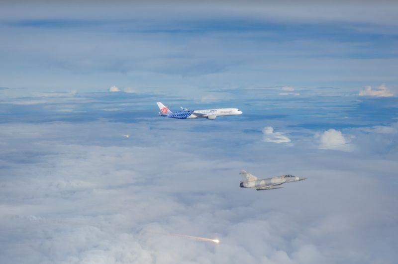 ▲東奧羽球代表團凱旋歸國,我國派出幻象戰機伴飛。(圖/軍聞社提供)