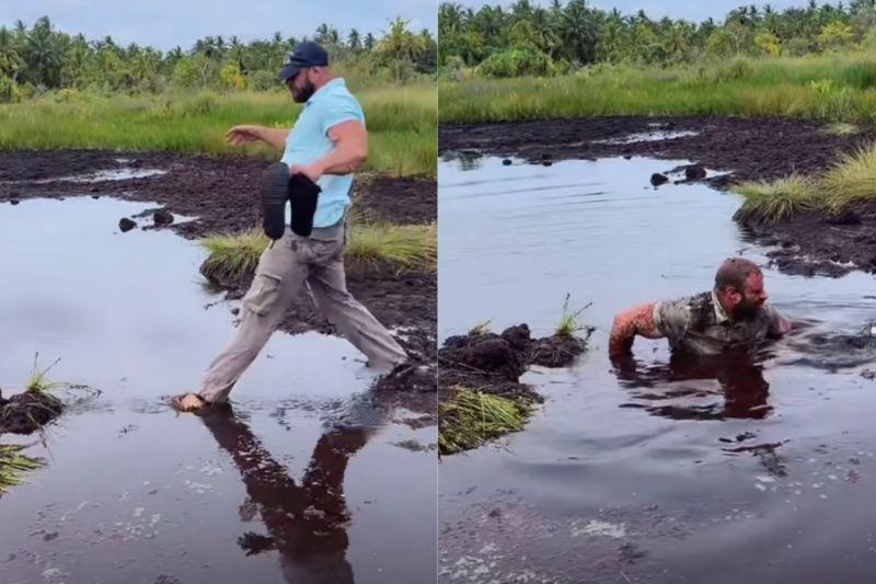 ▲馬丁掉入約3公尺深的泥坑裡,沒想到爬起來後,老婆卻在旁笑翻。(圖/翻攝自《@the3dumbbells》TikTok)