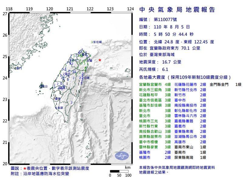 ▲今(5)日清晨5點50分在宜蘭外海發生規模6.1地震,最大震度為4級,隨後在53分、54分、56分再發生各規模4.5、4.3、5.2的地震。對此,中央氣象局指出,造成本次規模6.1地震的原因是判斷是弧後擴張,預計未來兩週內,還有可能發生規模5.0以下餘震。(圖/氣象局)