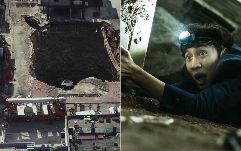 ▲片中,李光洙與同事一起掉進500公尺的深坑中。(圖/車庫娛樂)