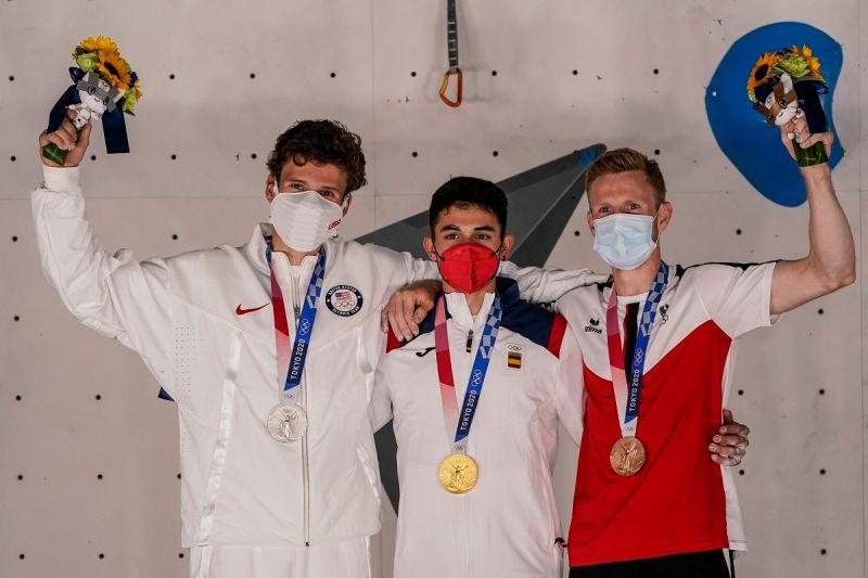 ▲奧運首屆男子運動攀登賽事結束,西班牙好手Alberto Gines Lopez奪冠。(圖/美聯社/達志影像)