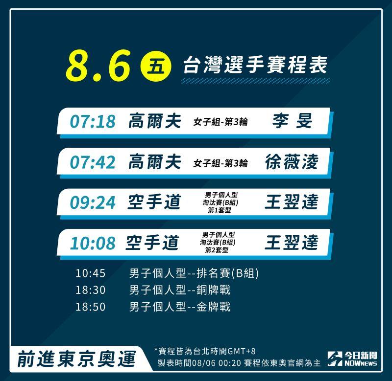 ▲8月6日中華隊奧運賽程,請為選手大力加油!(圖/《NOWnews