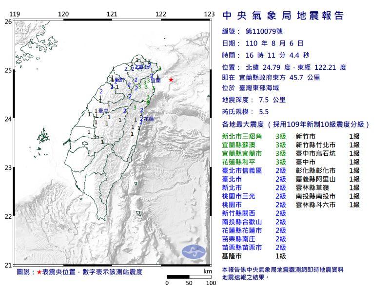 ▲氣象局表示,下午規模5.5的有感地震是昨日清晨的餘震,未來一周不排除還有規模4以上餘震。(圖/中央氣象局提供)