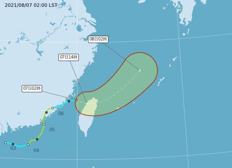 ▲中央氣象局今(7)表示,熱帶性低氣壓(原盧碧颱風)將持續往台灣東方海域移動。(圖/翻攝自中央氣象局)