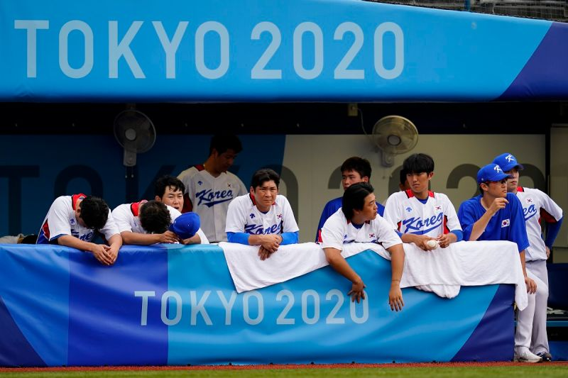 ▲韓國奧運棒球代表隊兵敗東京,無緣衛冕。(圖/美聯社/達志影像)