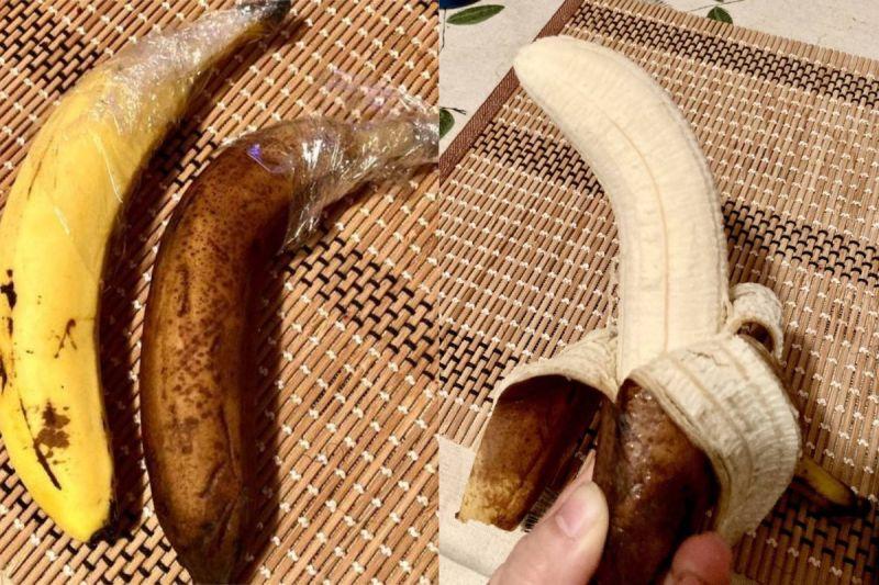 ▲原PO用保鮮膜包香蕉蒂頭,經過10天後,果肉還是正常的米白色。(圖/翻攝自《@kawachirokow》Twitter)