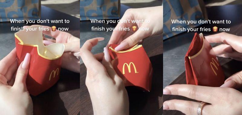 ▲網友教授麥當勞薯條的保存方法,引發網友熱議。(圖/抖音)