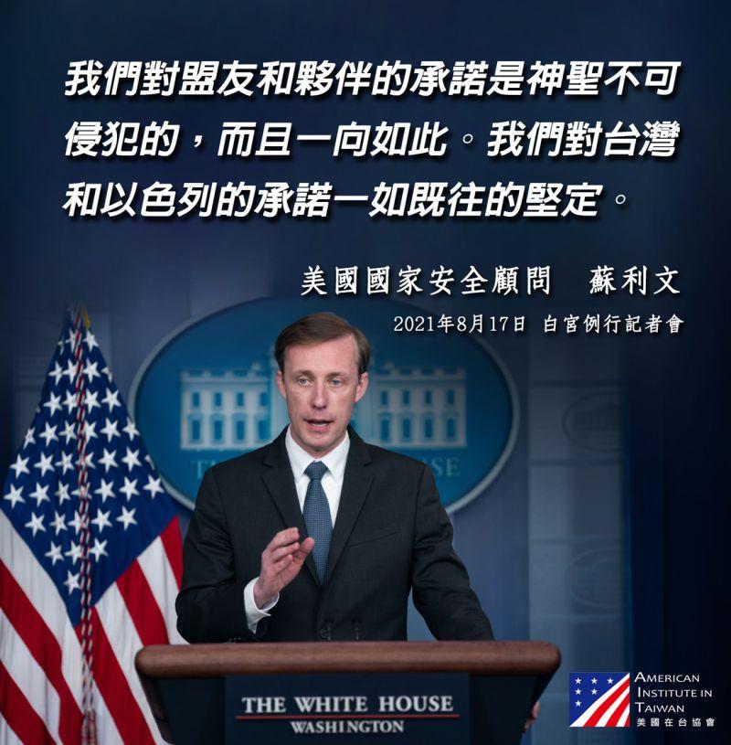 「今日阿富汗明日台灣」?白宮:對台承諾一如既往堅實