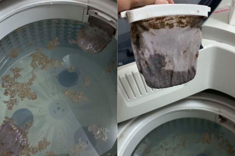 ▲原PO發現脫水後,污垢還是卡著不動,甚至連濾網也是滿滿的汙垢。(圖/翻攝自《清潔癖小日子》)