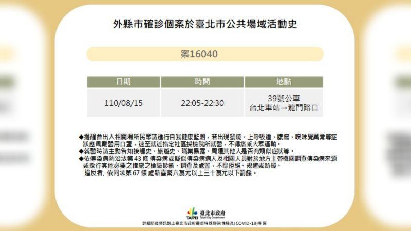 ▲台北市衛生局24日公布新北確診者案16040的北市足跡。(圖/台北市政府提供)