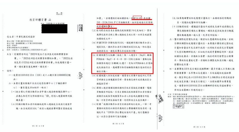▲體育署公文揭中華民國足球協會申請專案讓外國球員入境後只需要隔離5天就可比賽。(圖/鄭正鈐辦公室提供)