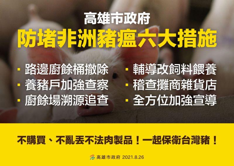 ▲高雄祭出防堵非洲豬瘟六大措施。(圖/高雄市政府提供)