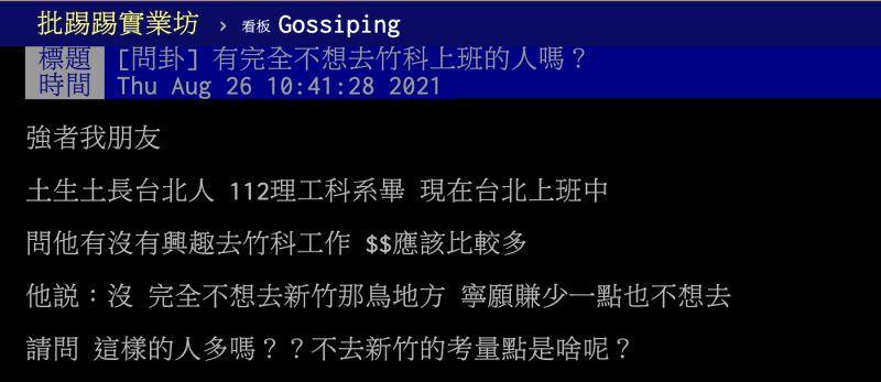 ▲原PO詢問台北朋友是否有意願為了高薪到竹科工作,對方卻立刻拒絕。(圖/翻攝自PTT)