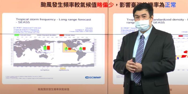 ▲氣象局預報中心副主任陳怡良指出,秋季颱風預估今年仍會有1至2個颱風侵台,約略低於氣候值。(圖/翻攝氣象局直播)