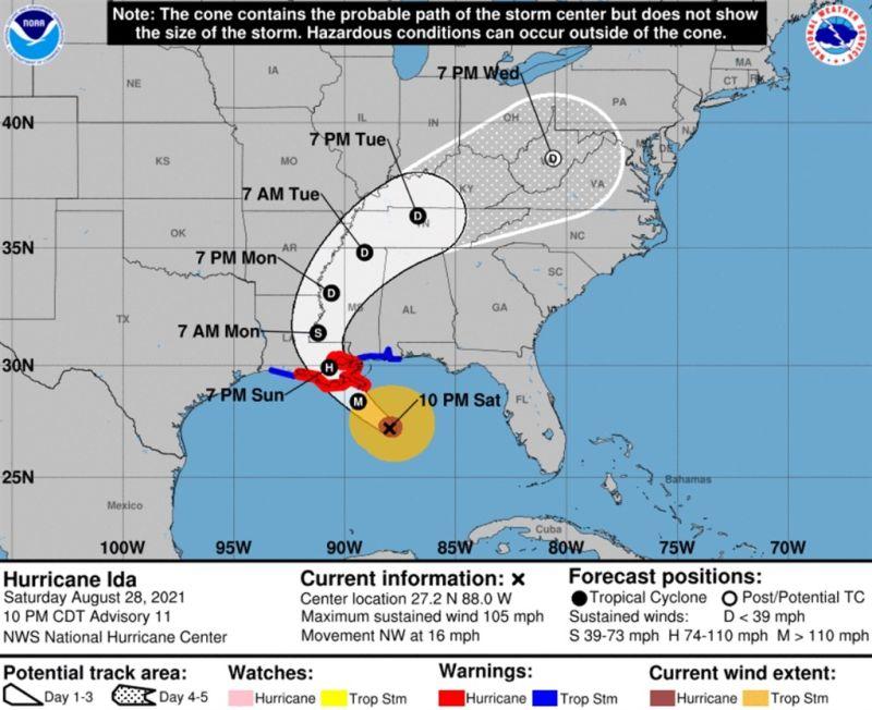 ▲毀滅性颶風卡崔娜16年前席捲美國紐奧良,如今威力增強中的颶風艾達預料將再度侵襲這座城市。(圖/翻攝自美國國家海洋暨大氣總署)