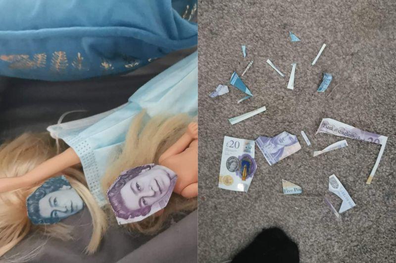 ▲維多利亞看到地板有碎紙片,才發現女兒把紙鈔上的頭像剪下,再貼在芭比的臉上。(圖/翻攝自《Spotted