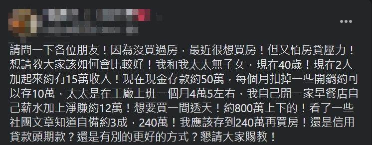 ▲網友拿不出240萬的頭期款,因此萌生向銀行信貸的念頭。(圖/翻攝買房知識家(A你的Q)臉書)