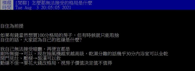 ▲網友認為最無法接受的房子格局是「暗廳」。(圖/翻攝PTT)