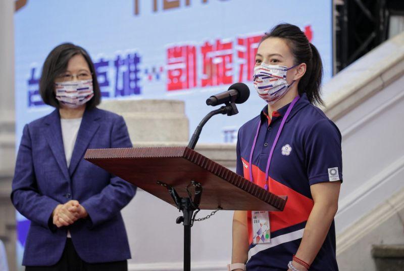▲總統蔡英文接見東奧台灣隊,舉重選手郭婞淳代表選手致詞。(圖/總統府提供)