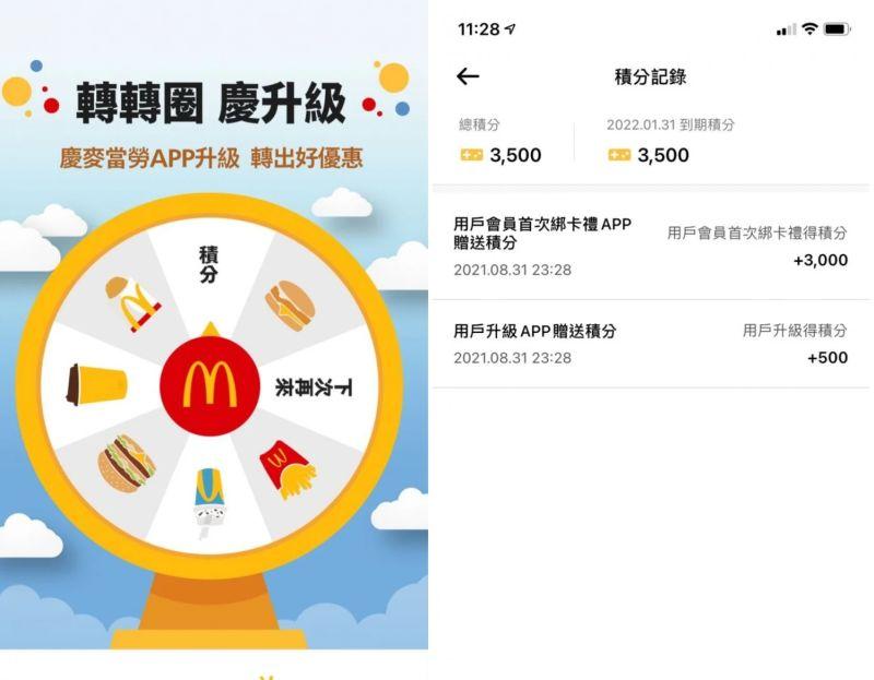 ▲網友在麥當勞APP綁定實體點點卡後,獲得積分3000,可以兌換100點數,相當於兩包大薯的價值。(圖/Dcard)