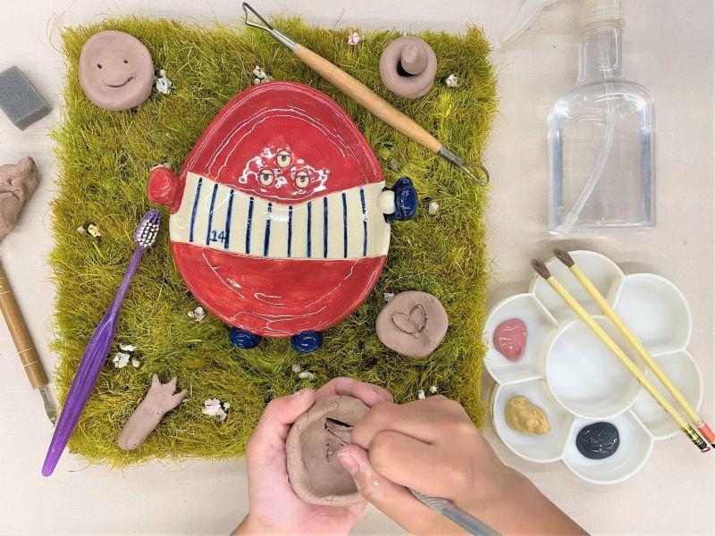 ▲陶博館首次開辦線上陶藝課程「怪獸小陶師訓練營」,讓學員不用出門,就能體驗玩陶「做怪」的樂趣。(圖/陶博館提供)