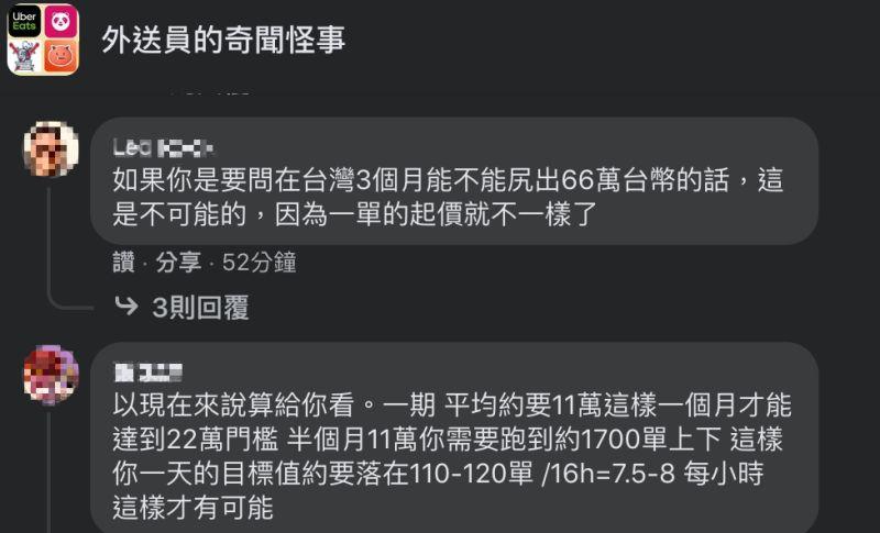 ▲網友認為在台灣跑外送,要在3個月賺66萬不可能做到。(圖/翻攝自《外送員的奇聞怪事》臉書)