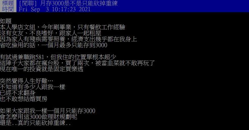 ▲網友透露自己月存3000元,唯一投資是買樂透。(圖/翻攝PTT)