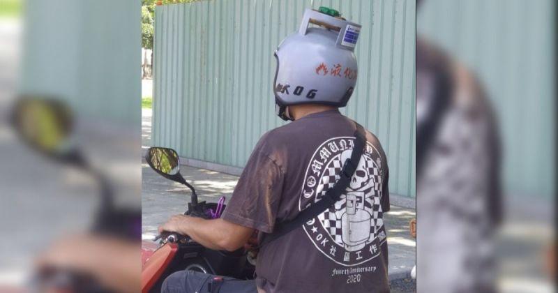 機車騎士大秀瓦斯桶安全帽 網友驚呼:小心騎以免氣爆